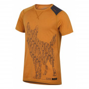 Pánské funkční triko Husky Merino 100 kr rukáv Dog hnědá Hnědooranžová