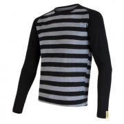 Pánské funkční triko Sensor Merino Wool Active dl.r. černá/šedá černé pruhy