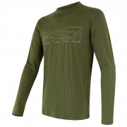 Pánské triko Sensor Merino Wool Active PT Track dl.r. zelená safari