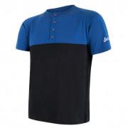 Pánské funkční triko Sensor Merino Air PT knoflíčky černá/modrá modrá/černá