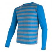 Pánské funkční triko Sensor Merino Wool Active dl.r. modrá modrá pruhy