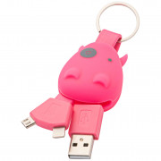 Munkees USB Klíčenka Smart Charger růžová Pink