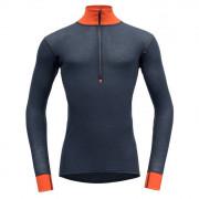 Чоловіча функціональна футболка Devold Wool Mesh Man Half Zip Neck чорний/помаранчевий