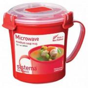 Hrnek Sistema Microwave Medium Soup Mug Red červená